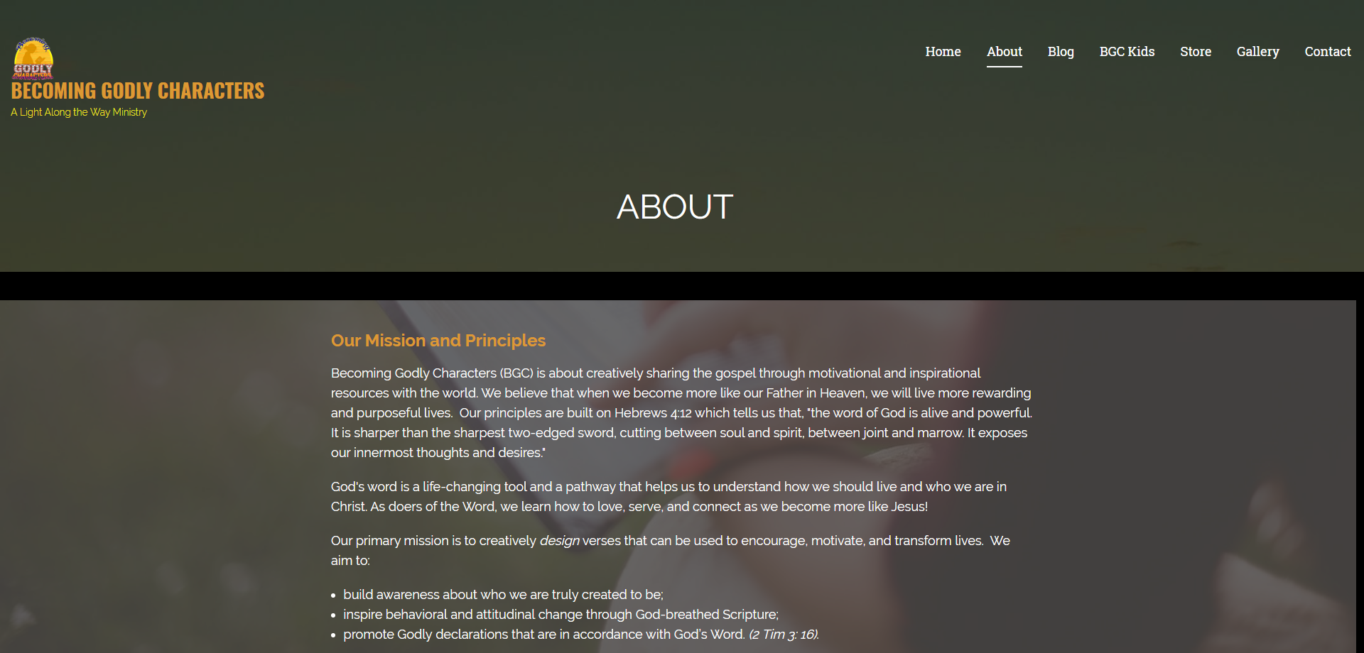 Becoming Godly Characters About Web page