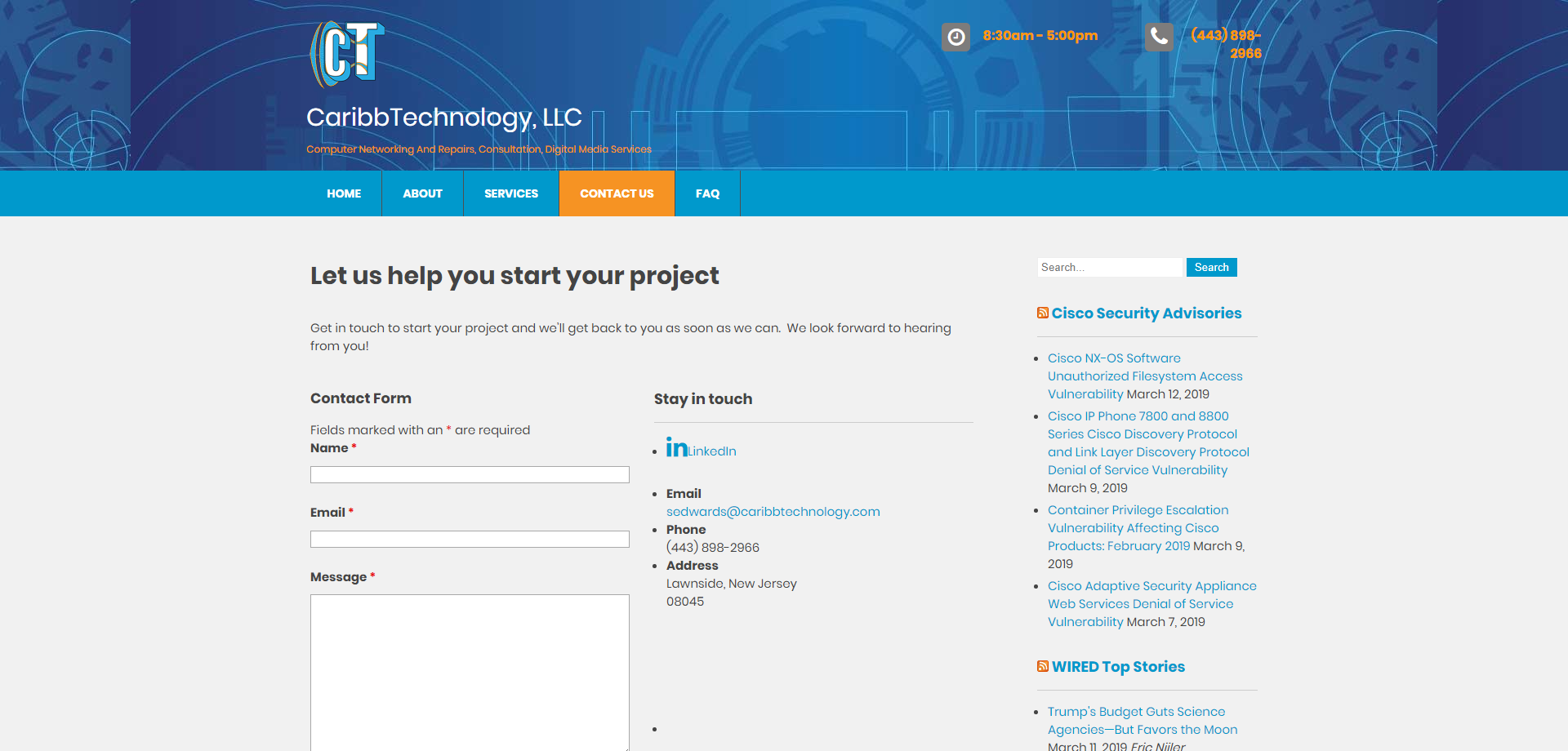 CaribbTechnology Contact Web page