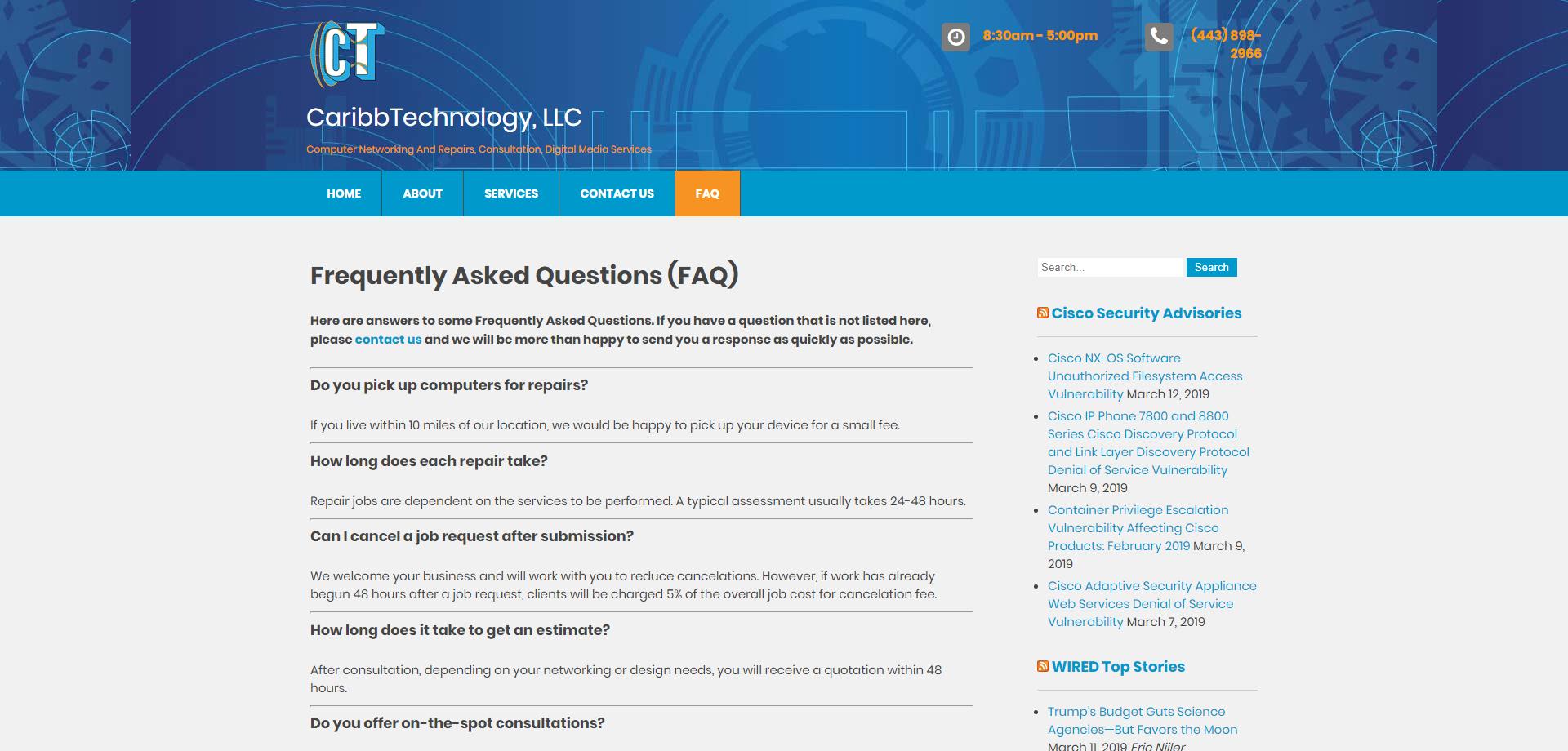 CaribbTechnology faq Web page