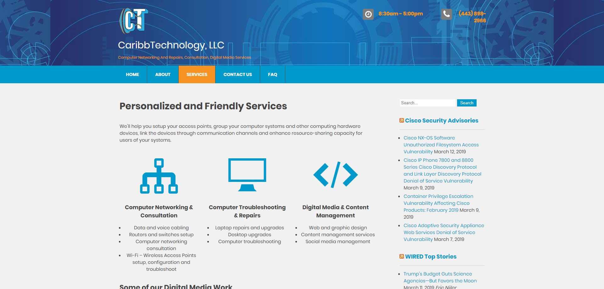 CaribbTechnology Services Web page