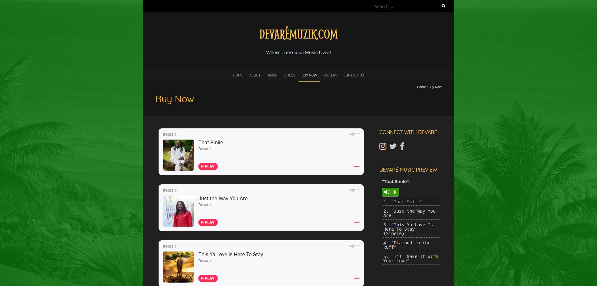 DevareMuzik Buy Music Web page